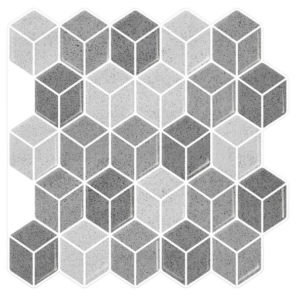 Cube Grigio 10 in. W x 10 in. H Peel and Stick Decorative Mosaic Wall Tile Backsplash (6 Tiles)