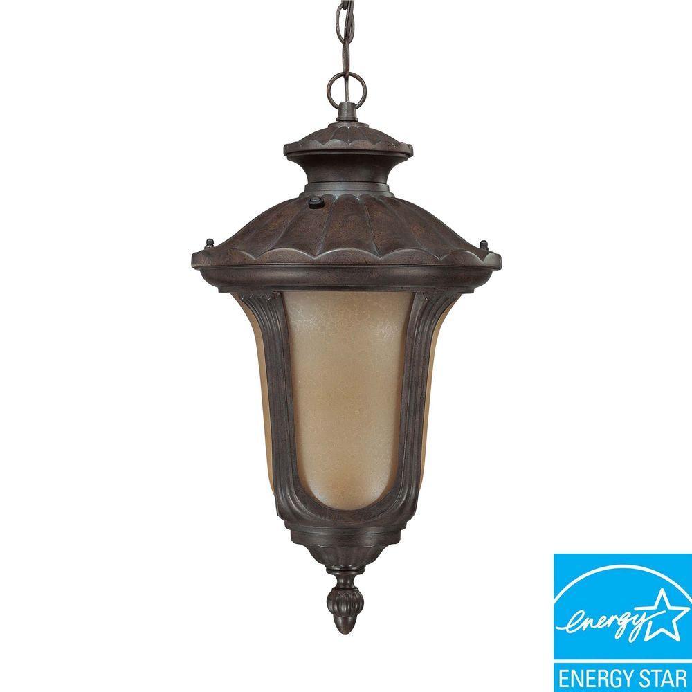 1-Light Outdoor Fruitwood Fluorescent Ceiling Light