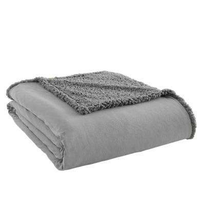 Queen Greystone Sherpa Back Polyester Blanket