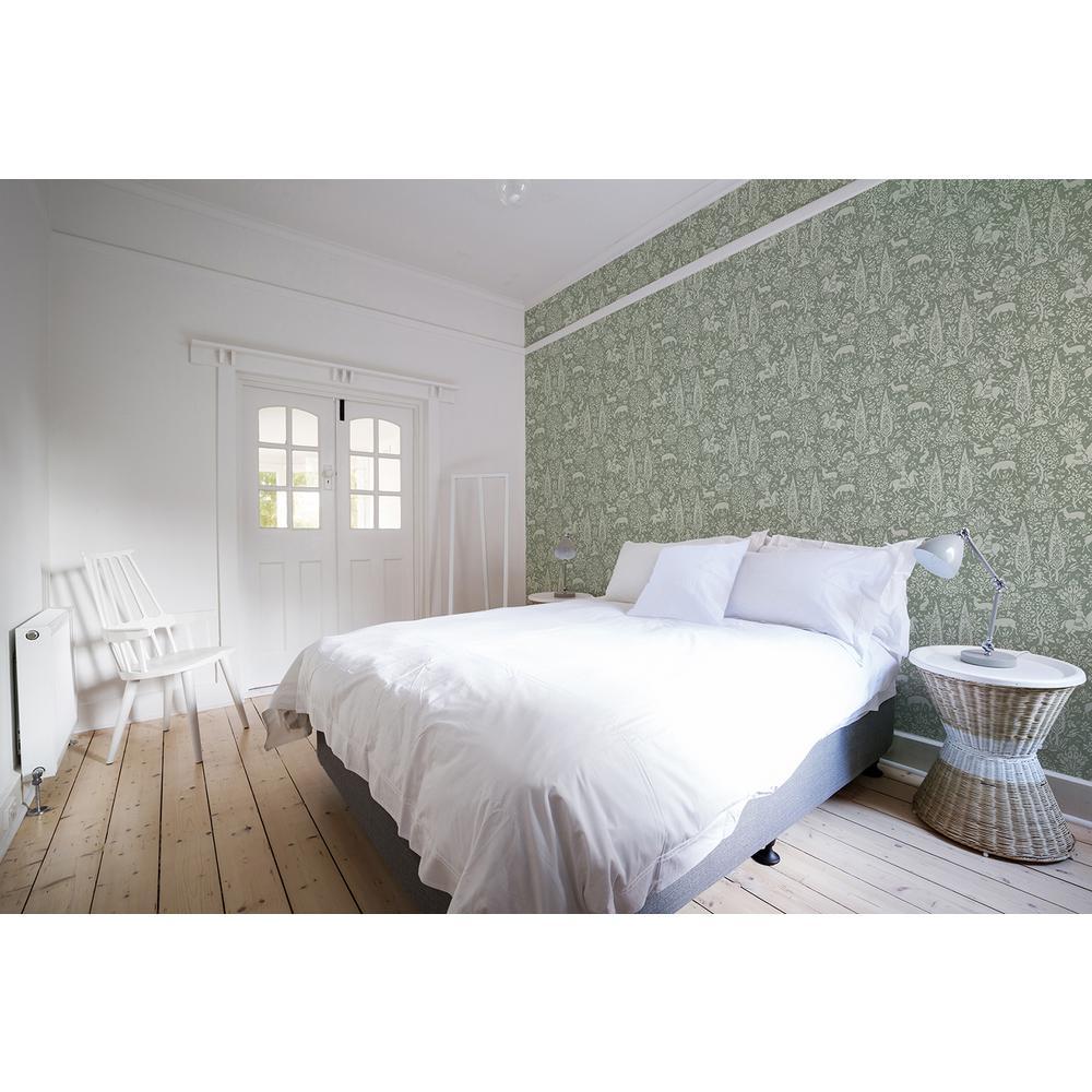 56.4 sq. ft. Sherwood Sage Woodland Wallpaper