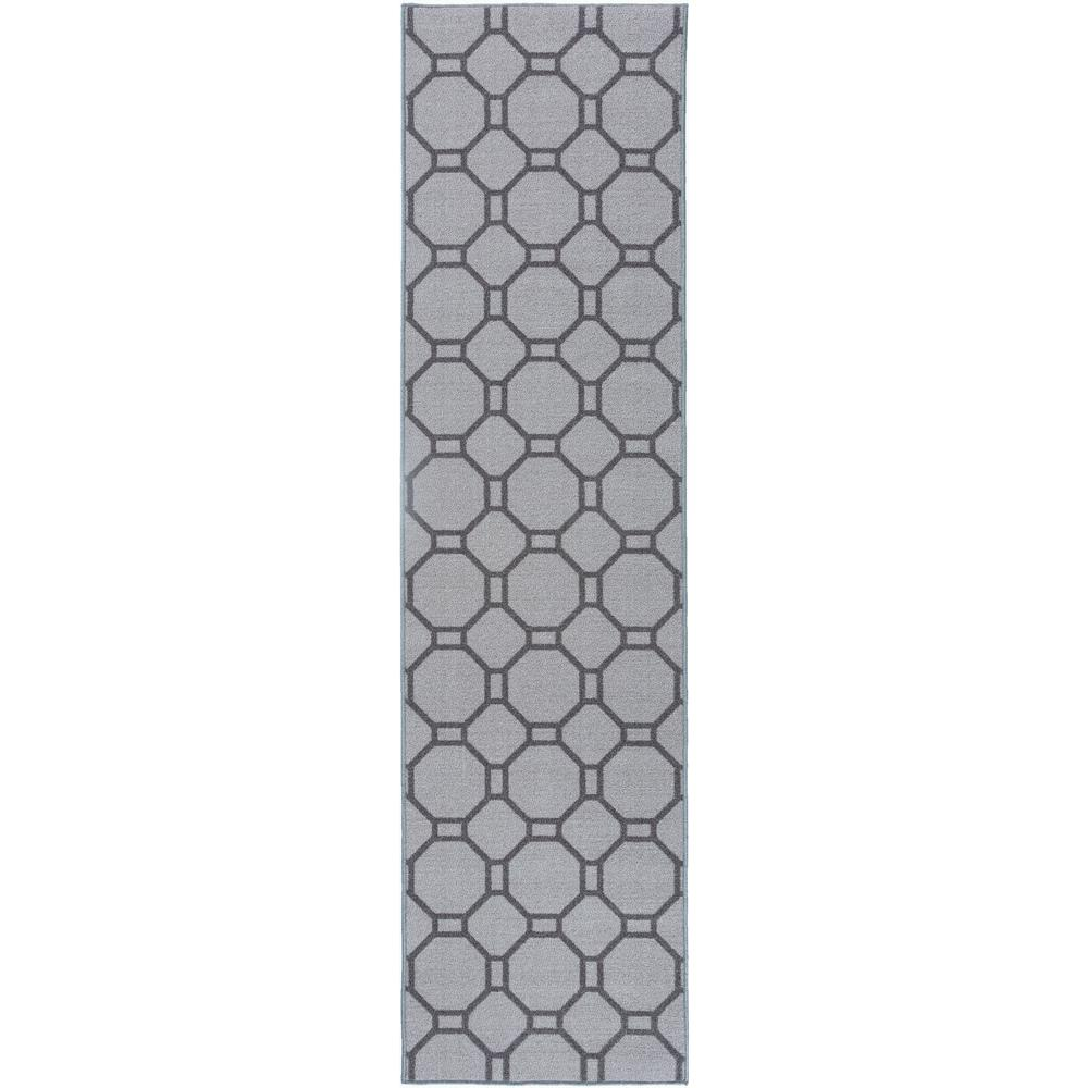 contemporary geometric non slip non skid gray area rug runner 2 ft x 7 ft 510 gray 2x7 the. Black Bedroom Furniture Sets. Home Design Ideas