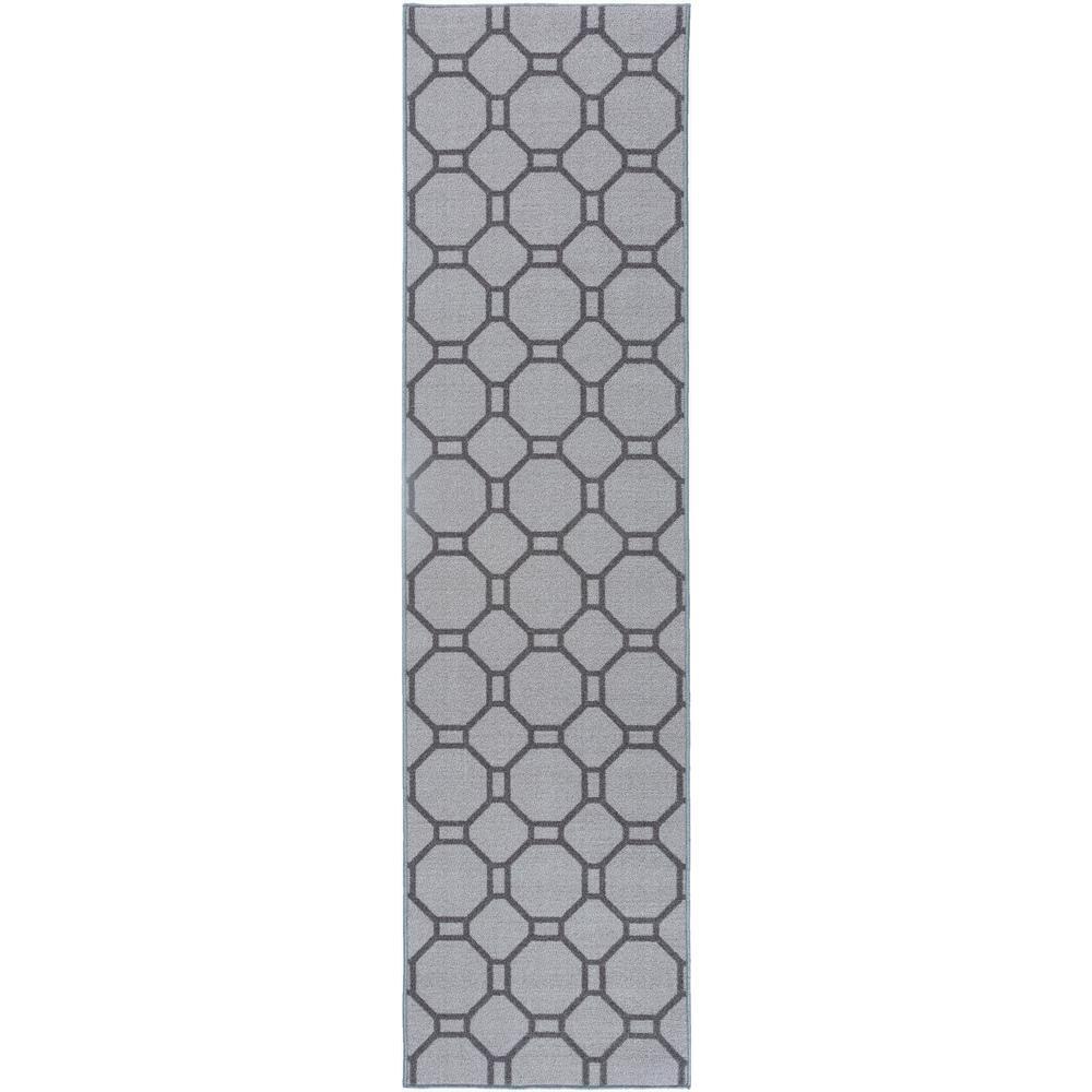 Rug Runner Non Slip: Contemporary Geometric Non-Slip (Non-Skid) Gray Area Rug