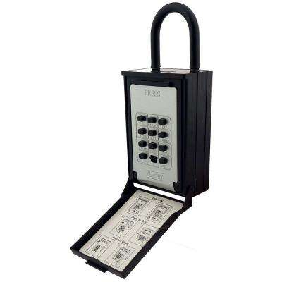 Key/Card Storage Push Button Combination Lockbox with Hanging Shackle, Black