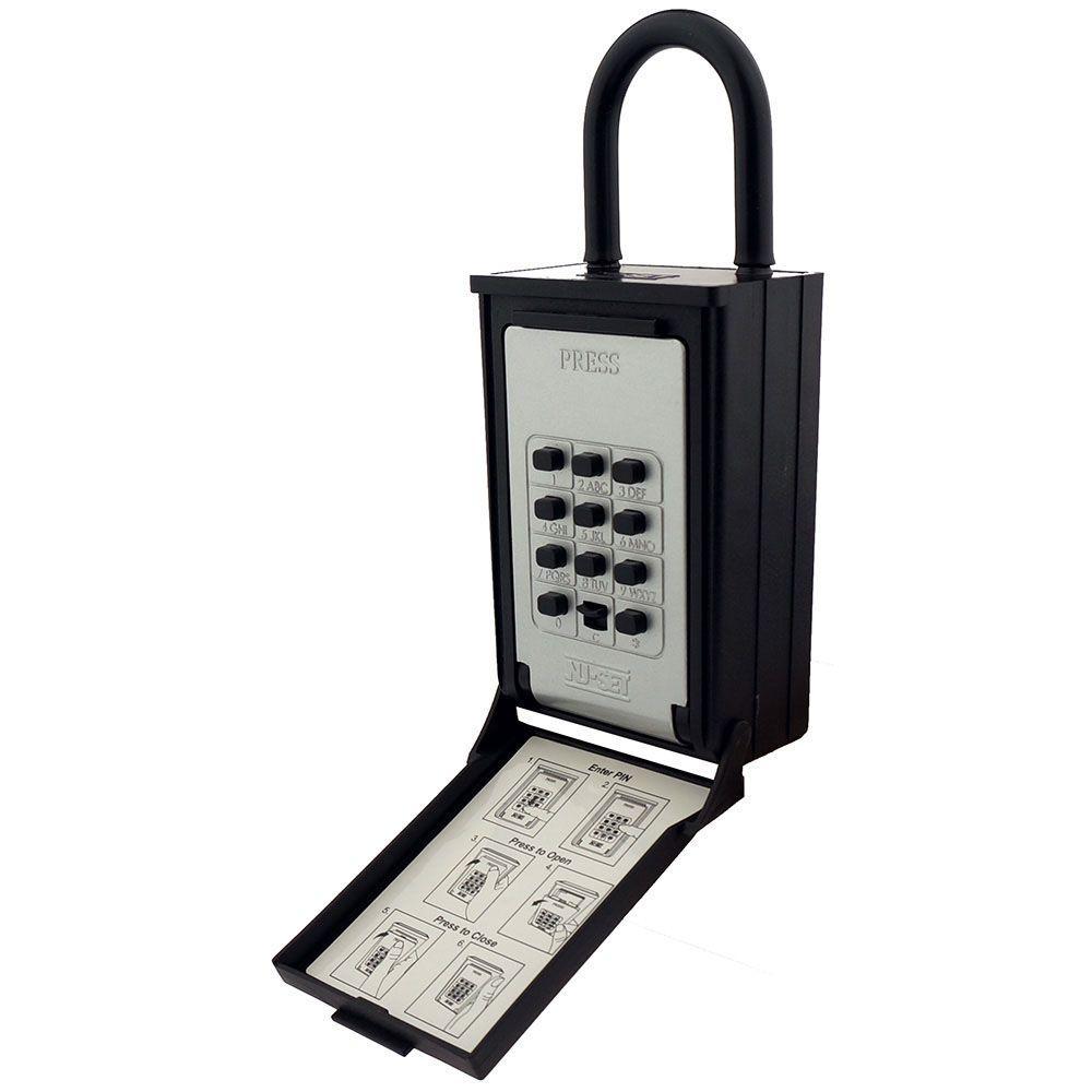 Key/Card Storage Push Button Combination Lockbox with Hanging Shackle, Black