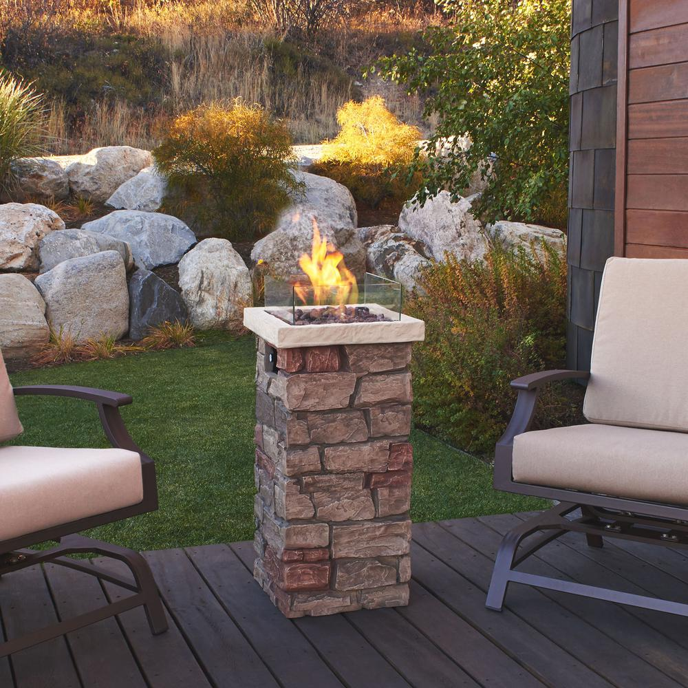 Real Flame Sedona 37 in. x 20 in. Rectangular Fiber-Concrete Propane Fire Column in Buff with Electronic Ignition