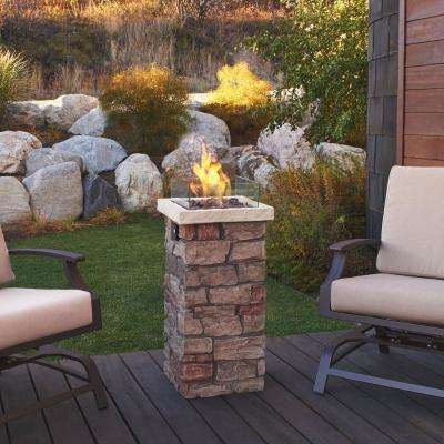 Sedona 37 in. x 20 in. Rectangular Fiber-Concrete Propane Fire Column in Buff with Electronic Ignition