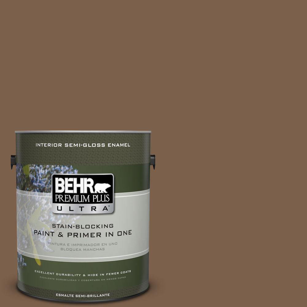 BEHR Premium Plus Ultra 1-gal. #PMD-60 Rich Walnut Semi-Gloss Enamel Interior Paint