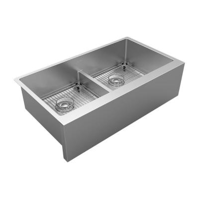 Crosstown 16-Gauge Stainless Steel 35-7/8 in. Equal Double Bowl Tall Farmhouse Apron Kitchen Sink with Aqua Divide Kit