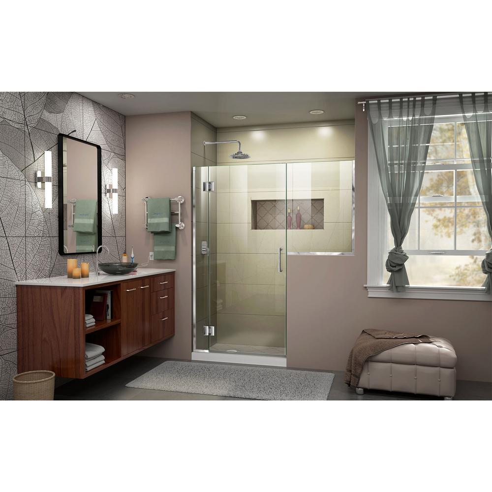 Dreamline Unidoor X 66 To 66 5 In X 72 In Frameless Hinged Shower Door In Chrome D1303036 01 The Home Depot