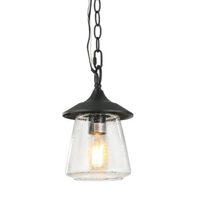 Monte 6 in. 1-Light Black Modern Outdoor Mini Pendant with Lantern Seeded Glass Shade