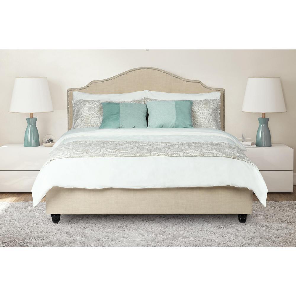 Averna Beige Linen Upholstered Twin Size Bed Frame