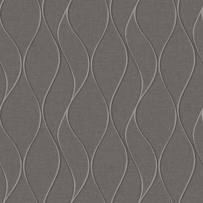 28.18 sq. ft. Grey Wave Ogee Peel and Stick Wallpaper