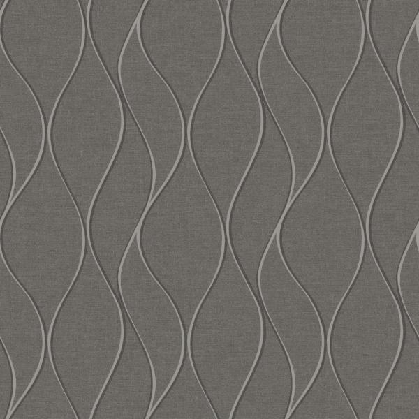 RoomMates 28.18 sq. ft. Grey Wave Ogee Peel and Stick Wallpaper