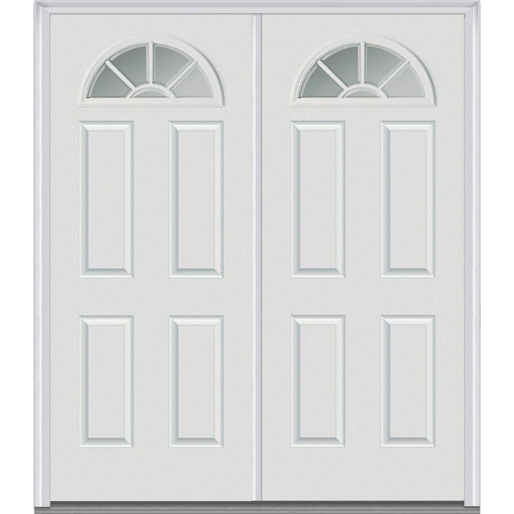 White Internal Grilles Left Hand Inswing Fan Lite Clear Gl 4 Panel Painted Steel Prehung Front Door