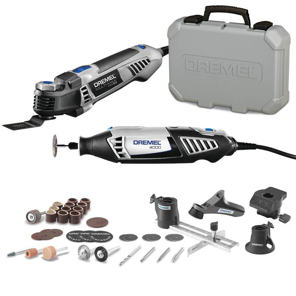 Dremel Multi-Max 5Amp Variable Speed Corded Oscillating Multi-Tool Kit+4000 Series 1.6Amp Variable Speed Corded Rotary (Tool Kit)