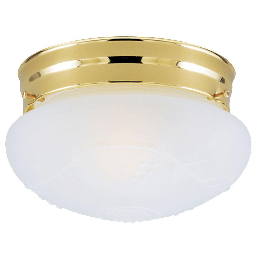 Westinghouse 1-Light Ceiling Fixture Polished Brass Interior Flush-Mount with Satin White Glass with Design