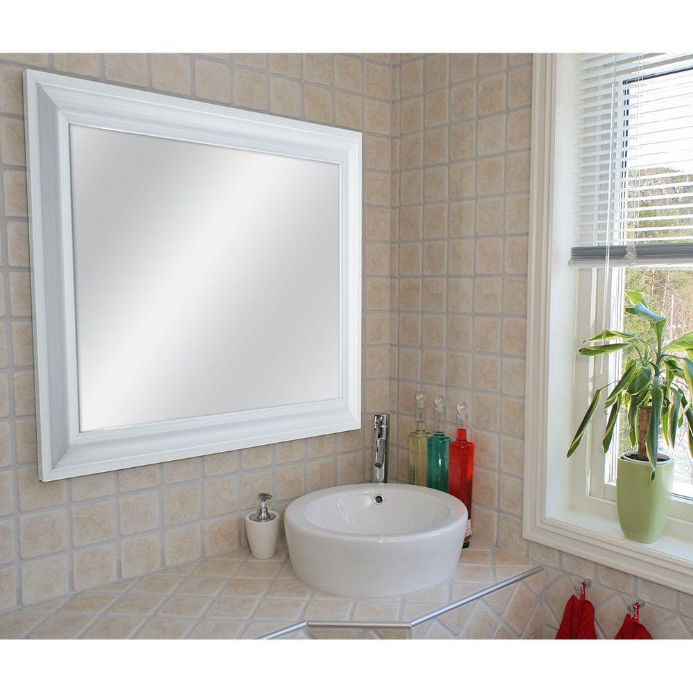 22.5 in. x 28.5 in. White Framed Mirror