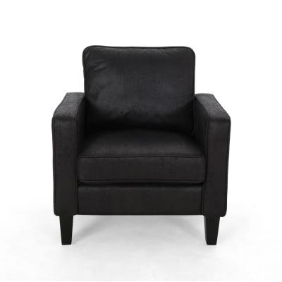 Beeman Black and Dark Brown Microfiber Club Chair