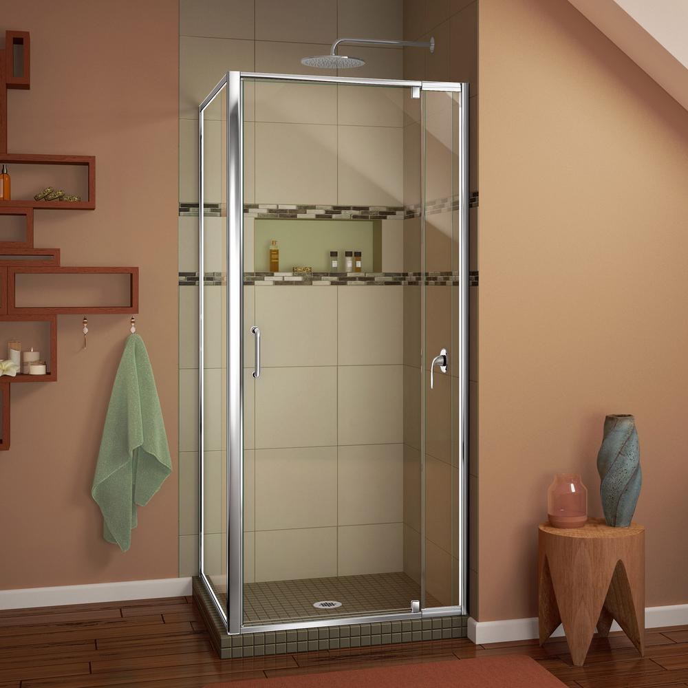 Franklin Brass 34 in. x 63-3/4 in. Framed Pivot Shower Door in ...