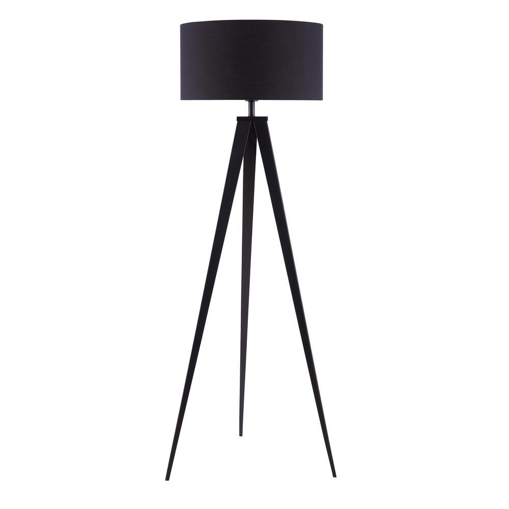 Zeppi 60 in. Black Tripod Floor Lamp