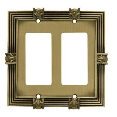 Pineapple Decorative Double Rocker Switch Plate, Tumbled Antique Brass