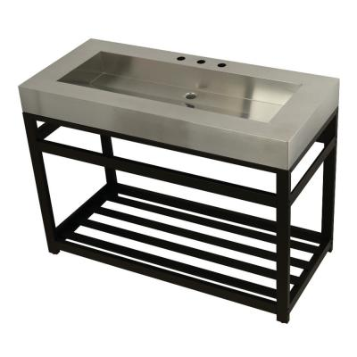49 in. W Bath Vanity in Oil Rubbed Bronze with Stainless Steel Vanity Top in Silver with Silver Basin
