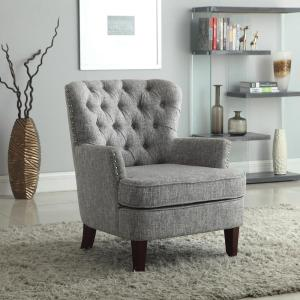 Outstanding Gray White Color Button Tufted Accent Chair With Nailhead Ibusinesslaw Wood Chair Design Ideas Ibusinesslaworg