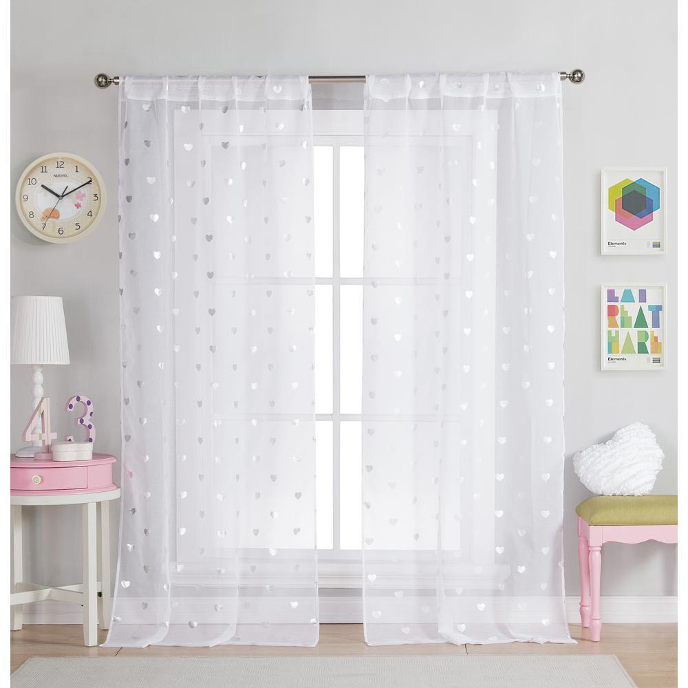 Kellyann 37 in. W x 84 in. L Polyester Window Panel in White (2-Pack)