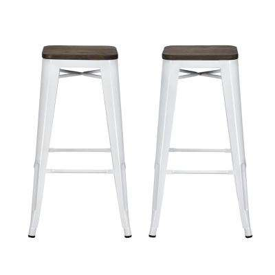 Penelope 30 in. White Bar Stool with Wood Seat (Set of 2)