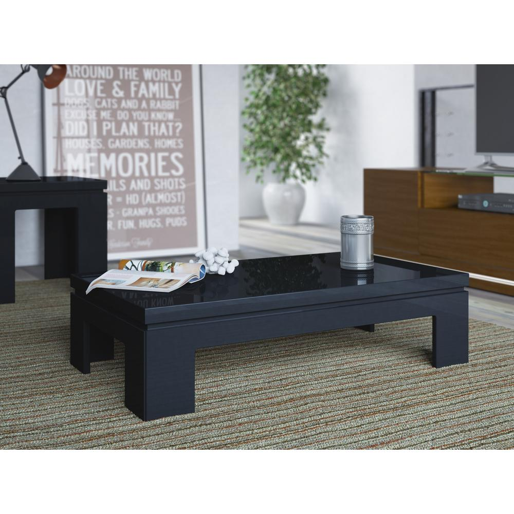 Manhattan Comfort Bridge Black Gloss Coffee Table