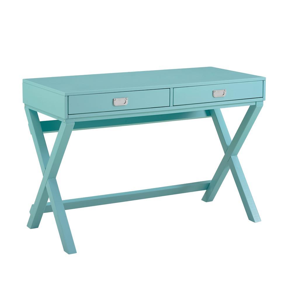 44 in. Rectangular Sara Blue 2 Drawer Writing Desk with Built-In Storage