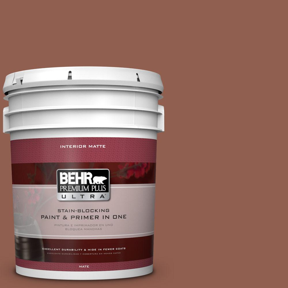 BEHR Premium Plus Ultra 5 gal. #210F-7 Brown Thrush Flat/Matte Interior Paint