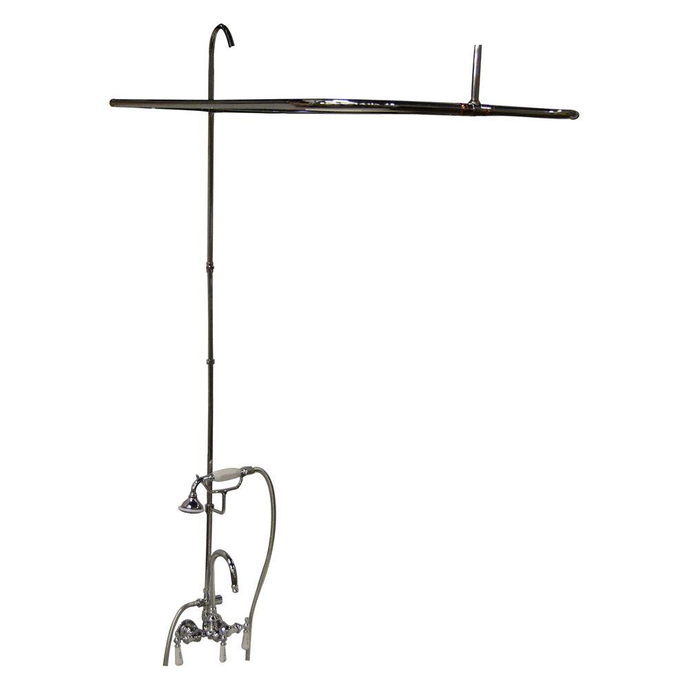 Barclay Products Porcelain Lever 3-Handle Claw Foot Tub Faucet with Riser and 48 in. Rectangular Shower Unit in Polished Nickel