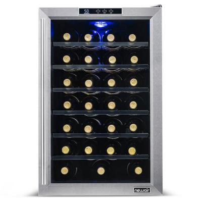 Premium Single Zone 28-Bottle Freestanding Cellar Thermoelectric Control Refrigerator Wine Cooler - Stainless Steel