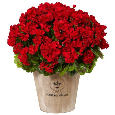 Indoor/Outdoor UV Resistant Red Geranium Silk Flowering Plant in Farmhouse Planter