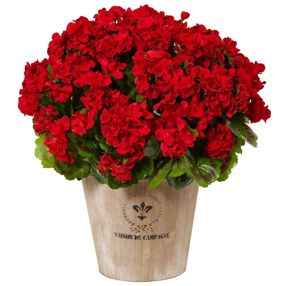 Nearly Natural Indoor/Outdoor UV Resistant Red Geranium Silk Flowering Plant in