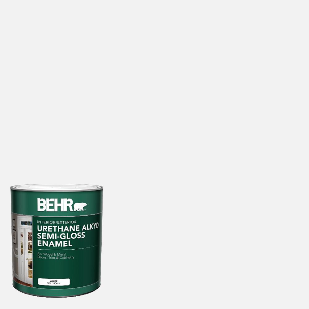 BEHR 1 gal  White Urethane Alkyd Satin Enamel Interior/Exterior Paint
