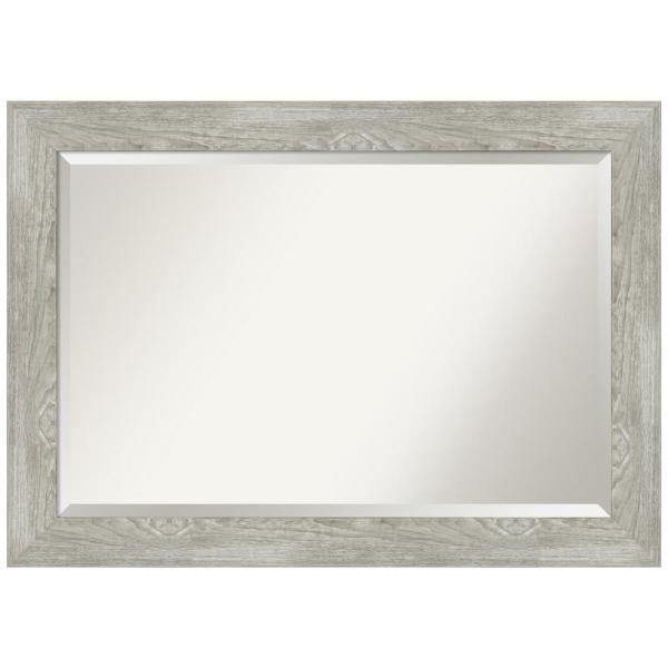 Medium Rectangle Distressed Grey Beveled Glass Modern Mirror (29.88 in. H x 41.88 in. W)