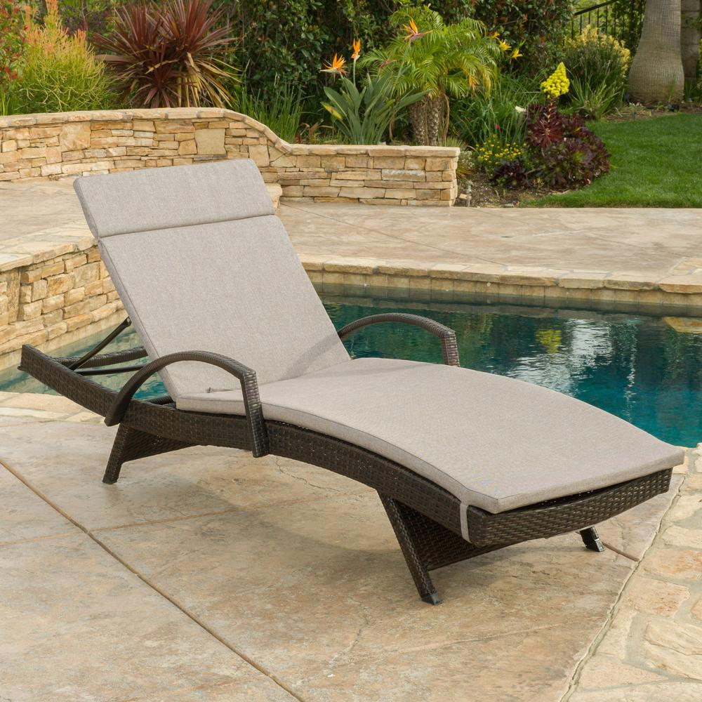 Noble House Miller Multi-Brown Wicker Outdoor Chaise Lounge with Charcoal Cushion and Armrest