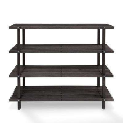 Pine Solid Wood Espresso Color 4-Shelf Multipurpose Rack