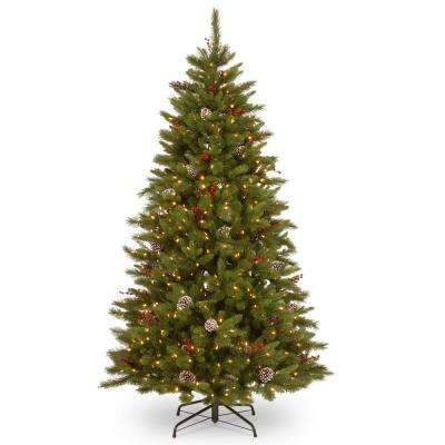 7-1/2 ft. Feel Real Bristle Berry Hinged Tree with 700 Clear Lights and PowerConnect
