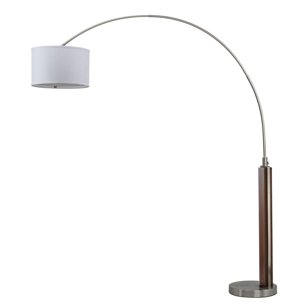 Aries 86.5 in. Nickel Arc Floor Lamp with Off-White Shade