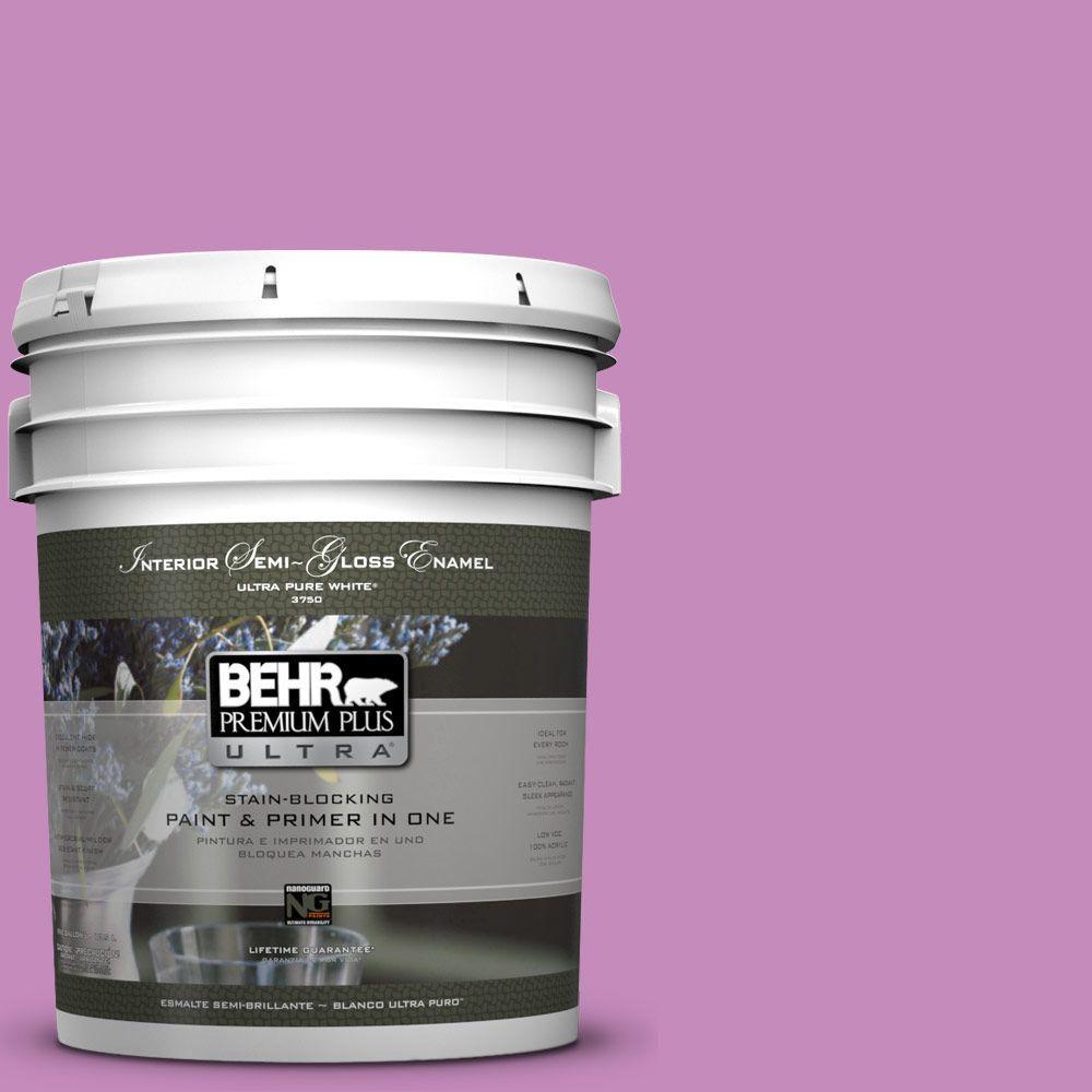 BEHR Premium Plus Ultra 5-gal. #P110-4 Rock Star Pink Semi-Gloss Enamel Interior Paint