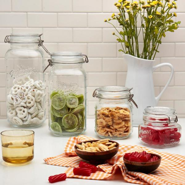 Mason Craft and More 4-Piece Glass Preserving Jar Set