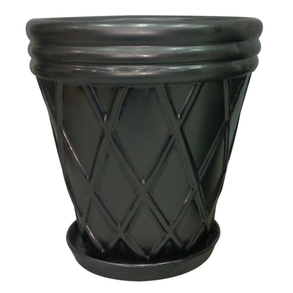 13 in. Metallic Pewter Lattice Ceramic Planter