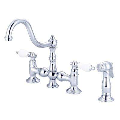 2-Handle Bridge Kitchen Faucet with Plastic Side Sprayer in Triple Plated Chrome