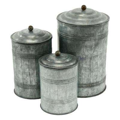 Galvanized Silver Metal Canisters (Set of 3)