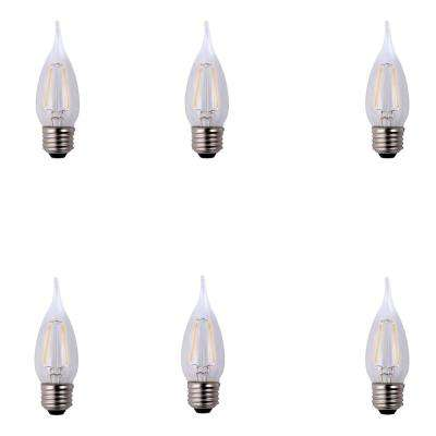 25-Watt Equivalent B11 Flame Tip E12 Base Dimmable Clear Glass Filament LED Light Bulb Daylight (6-Pack)