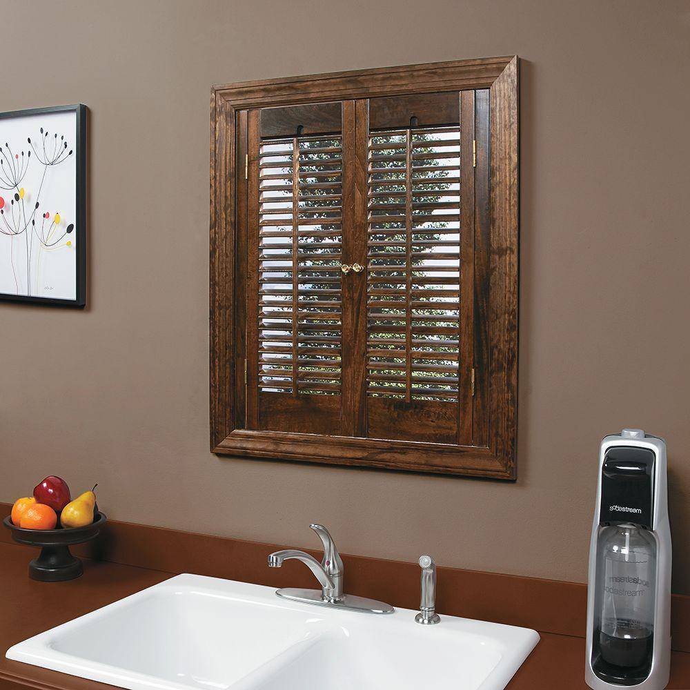 home depot window shutters interior homebasics traditional real wood walnut interior shutter 23996