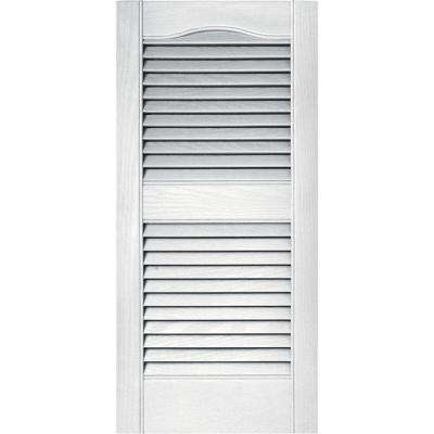15 in. x 31 in. Louvered Vinyl Exterior Shutters Pair in #001 White